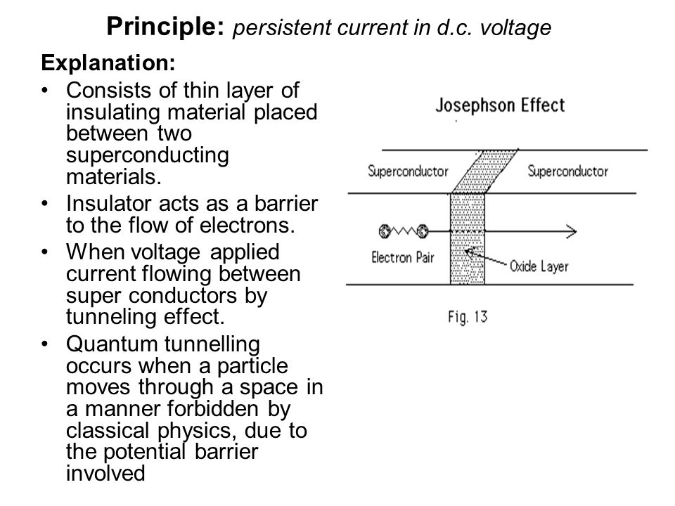 Principle: persistent current in d.c. voltage