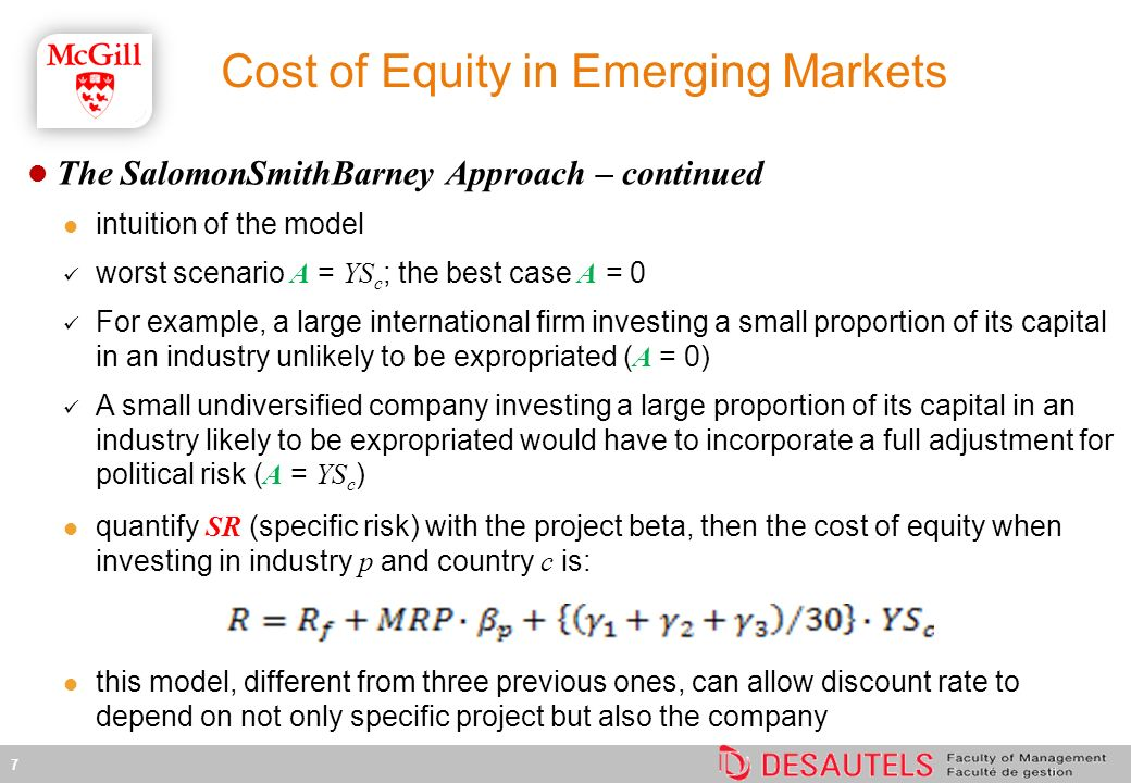 Cost of Equity in Emerging Markets
