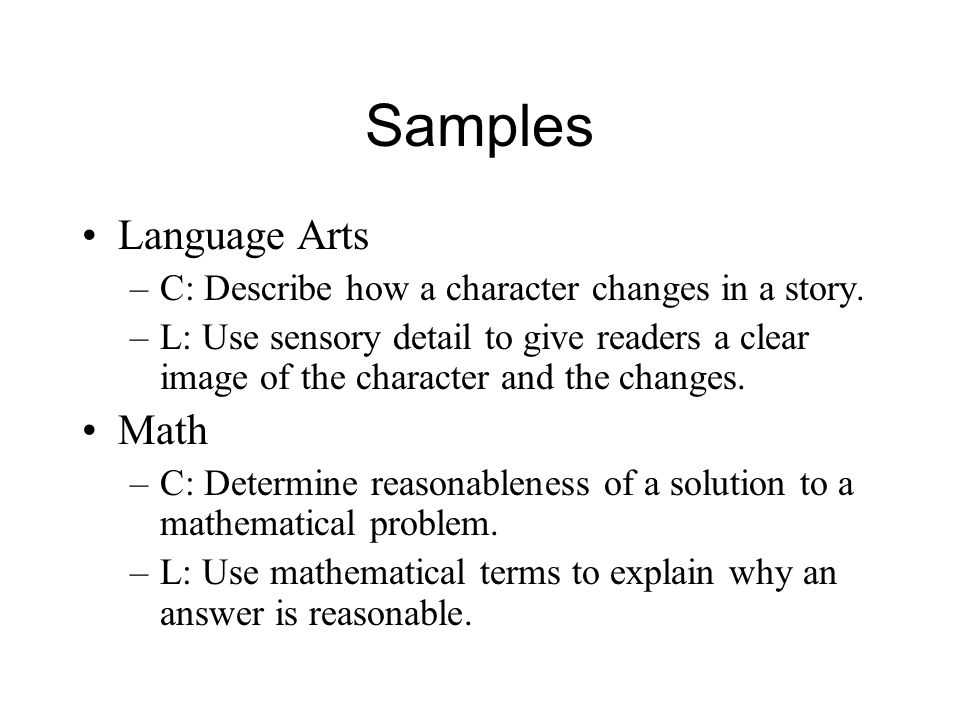 Samples Language Arts Math