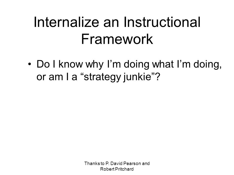 Internalize an Instructional Framework