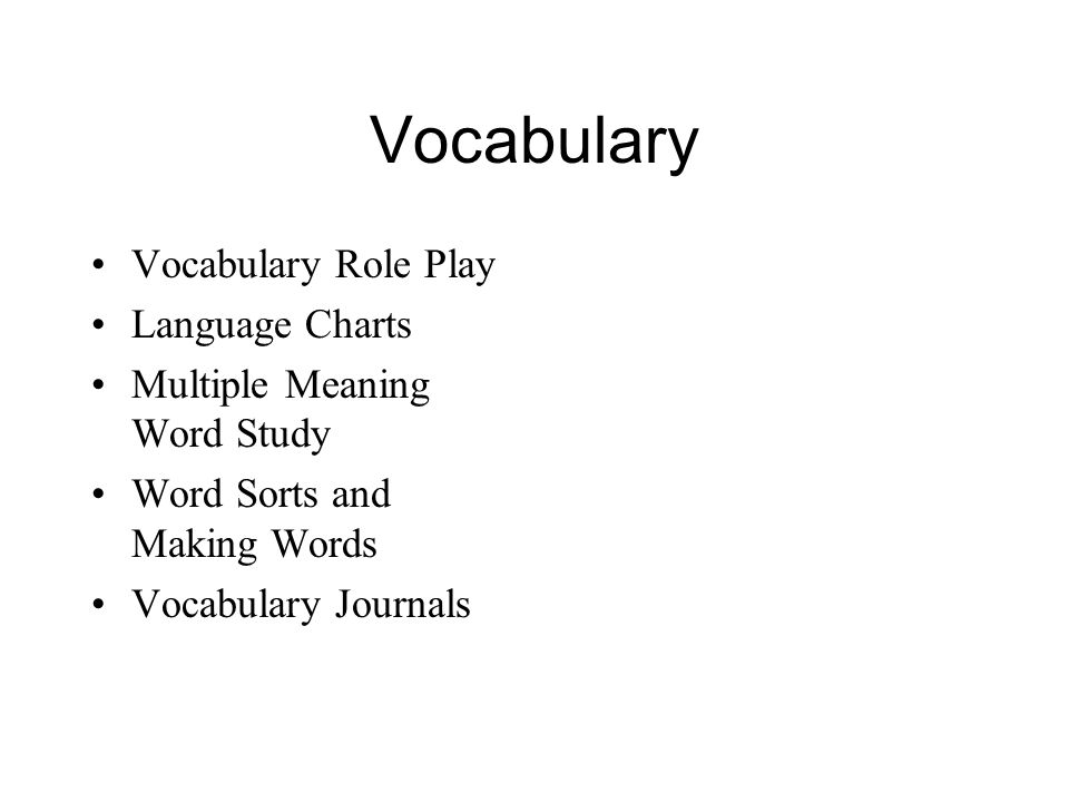Vocabulary Vocabulary Role Play Language Charts