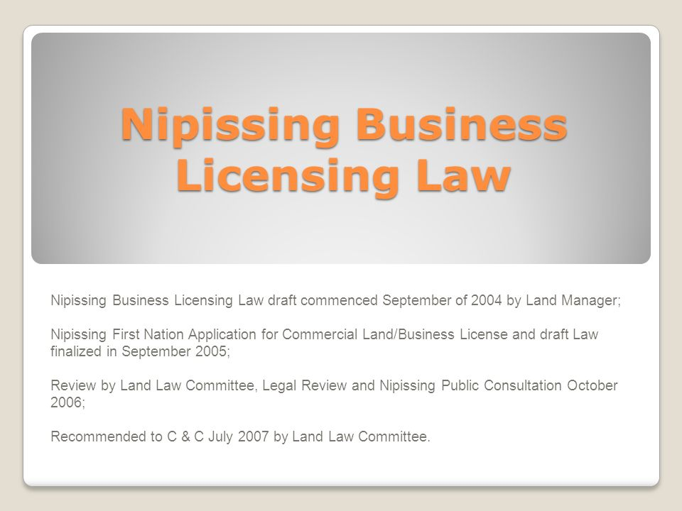 Nipissing Business Licensing Law