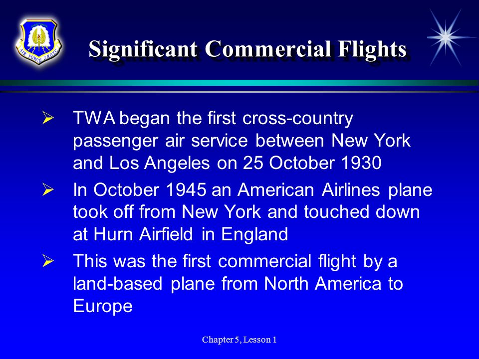 Significant Commercial Flights