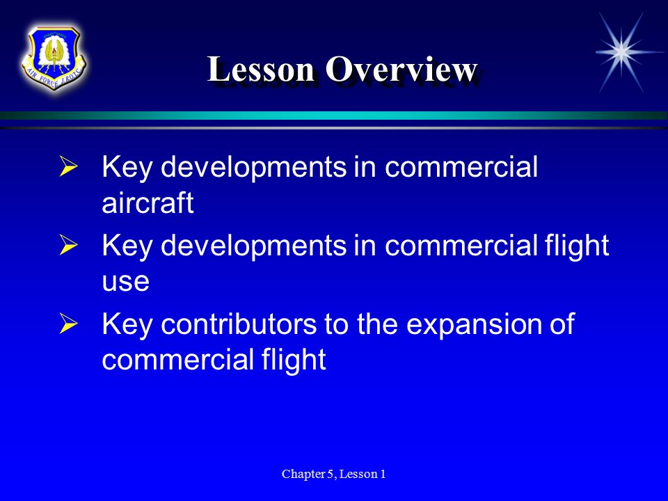 Lesson Overview Key developments in commercial aircraft