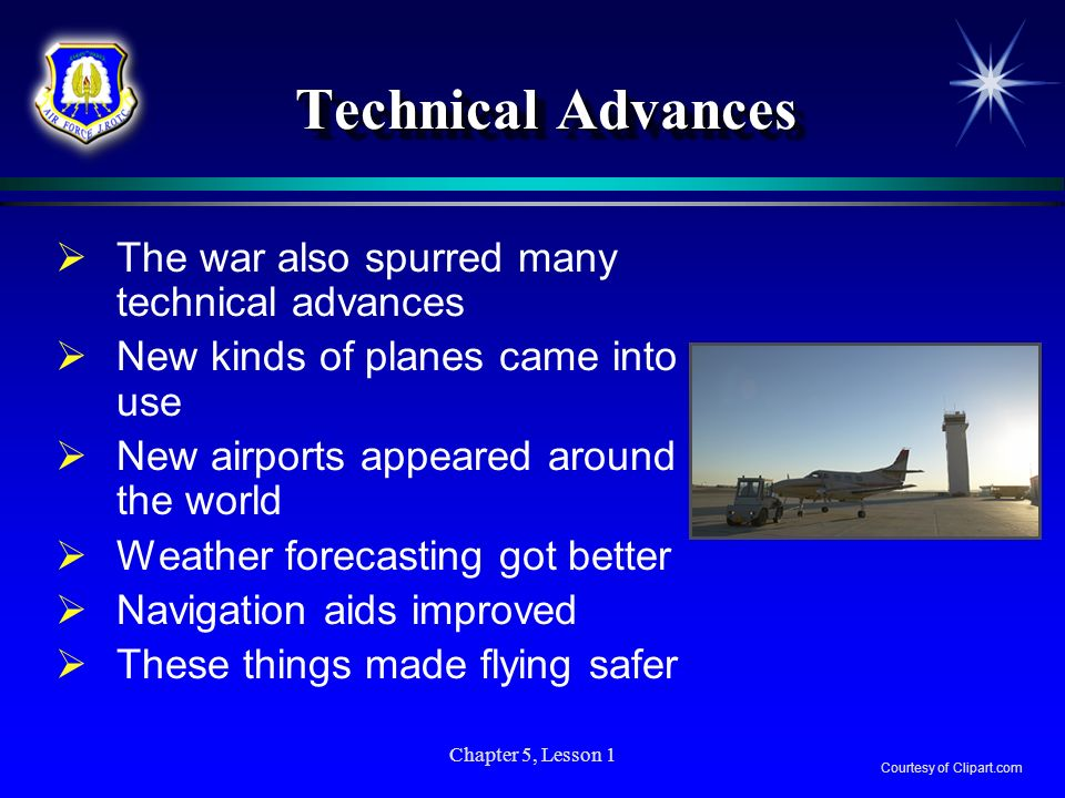 Technical Advances The war also spurred many technical advances