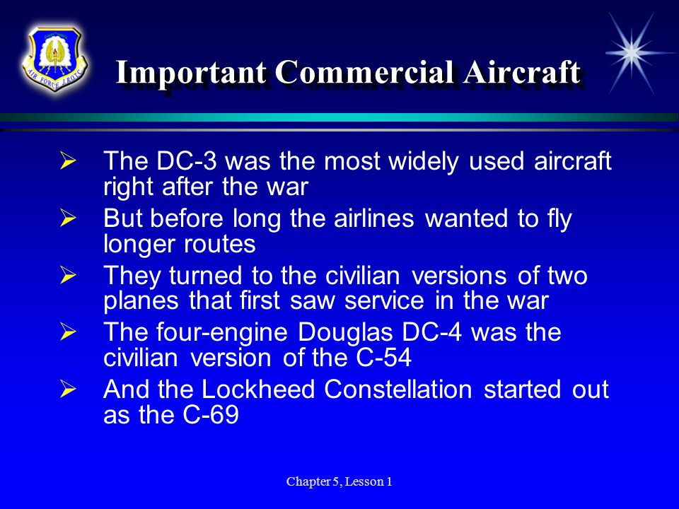 Important Commercial Aircraft