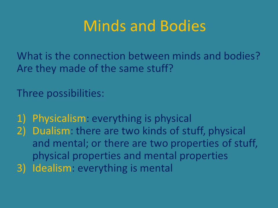 Minds and Bodies What is the connection between minds and bodies