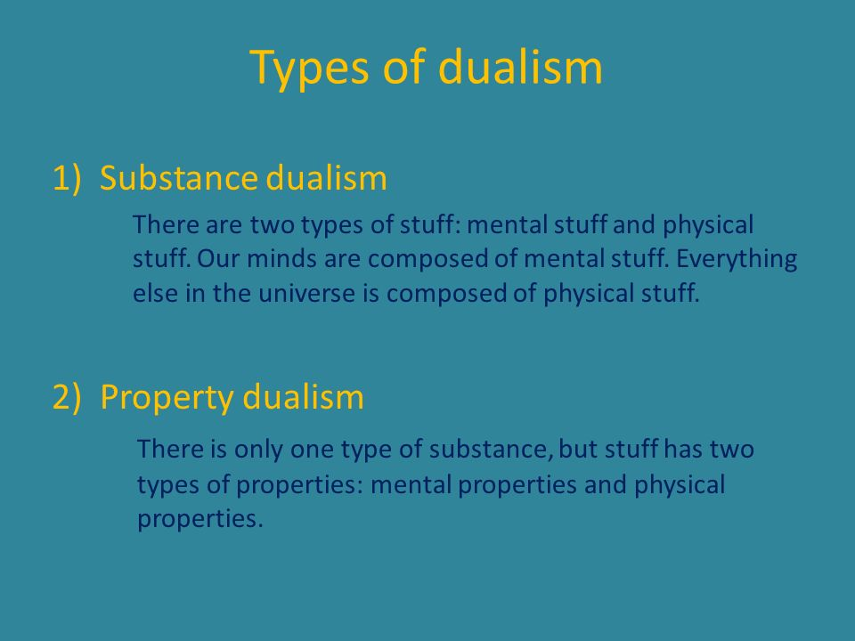 Types of dualism Substance dualism Property dualism