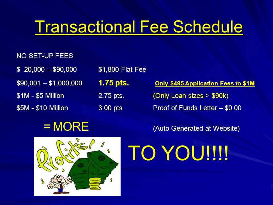 Transactional Fee Schedule