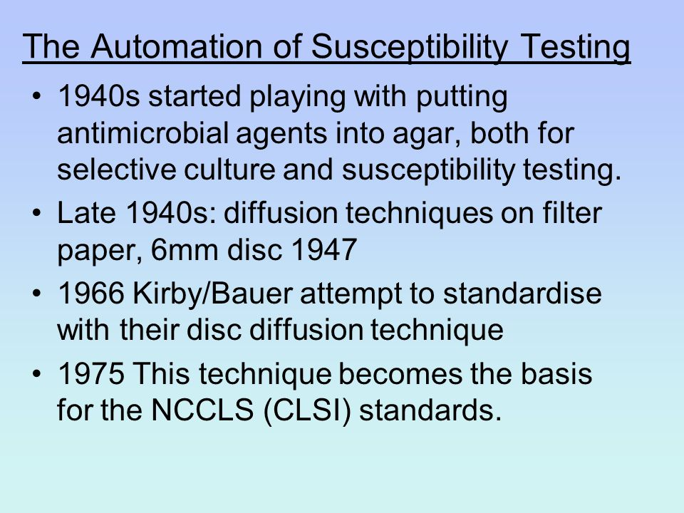 The Automation of Susceptibility Testing
