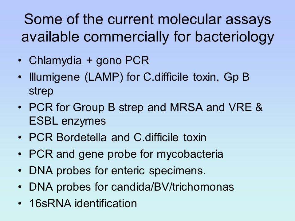 Some of the current molecular assays available commercially for bacteriology