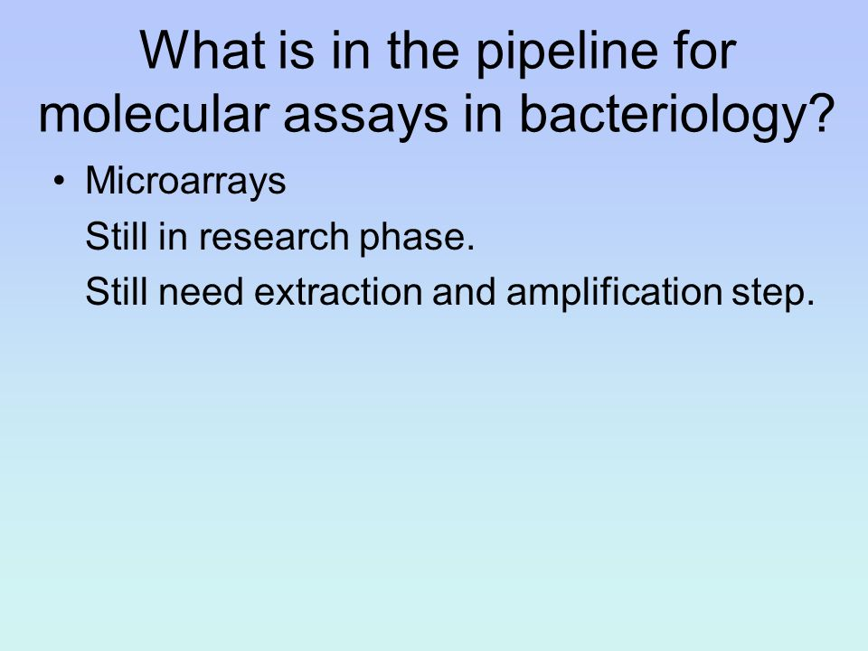 What is in the pipeline for molecular assays in bacteriology