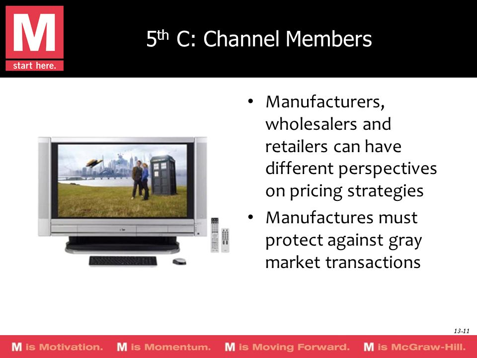 5th C: Channel Members Manufacturers, wholesalers and retailers can have different perspectives on pricing strategies.