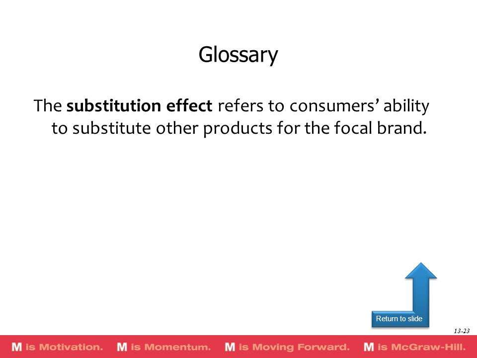 Glossary The substitution effect refers to consumers' ability to substitute other products for the focal brand.