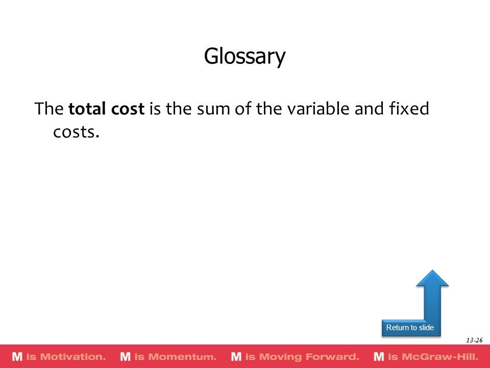Glossary The total cost is the sum of the variable and fixed costs.