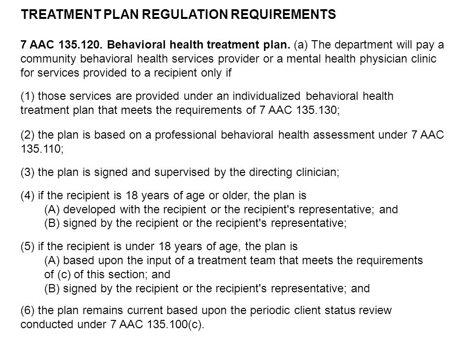 TREATMENT PLAN REGULATION REQUIREMENTS