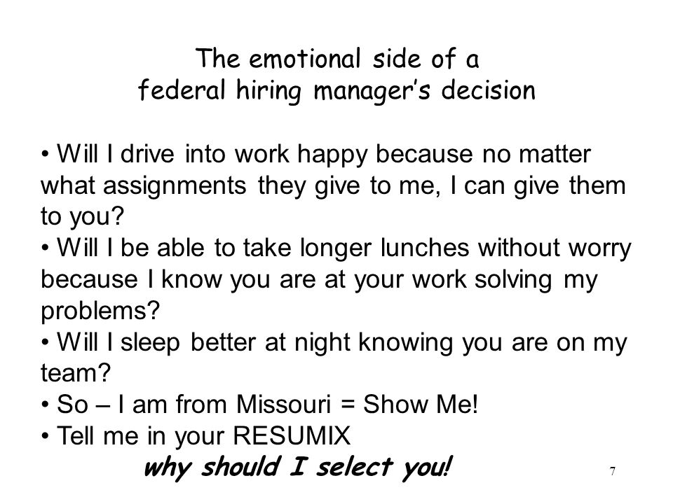 The emotional side of a federal hiring manager's decision