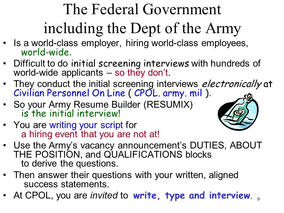 The Federal Government including the Dept of the Army
