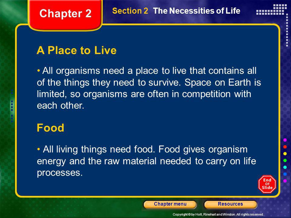 Chapter 2 A Place to Live Food