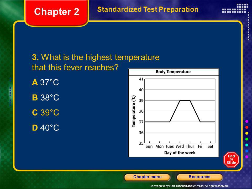 Chapter 2 3. What is the highest temperature that this fever reaches