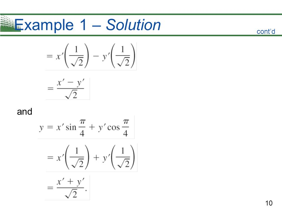 Example 1 – Solution cont'd and