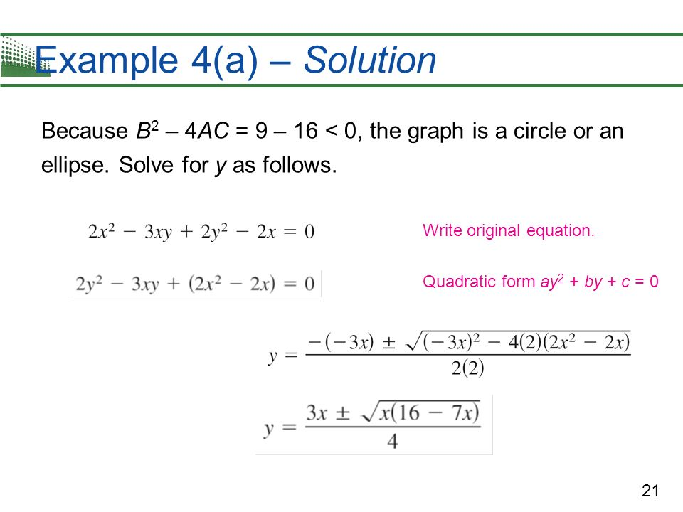 Example 4(a) – Solution Because B2 – 4AC = 9 – 16 < 0, the graph is a circle or an ellipse. Solve for y as follows.
