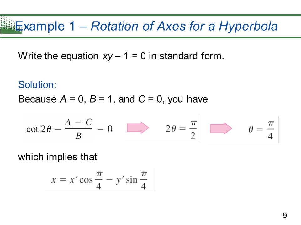 Example 1 – Rotation of Axes for a Hyperbola