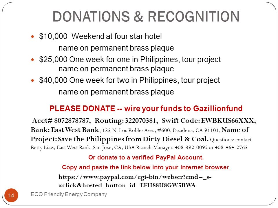 DONATIONS & RECOGNITION
