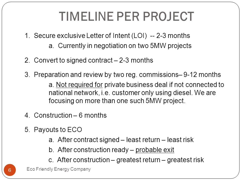 TIMELINE PER PROJECT