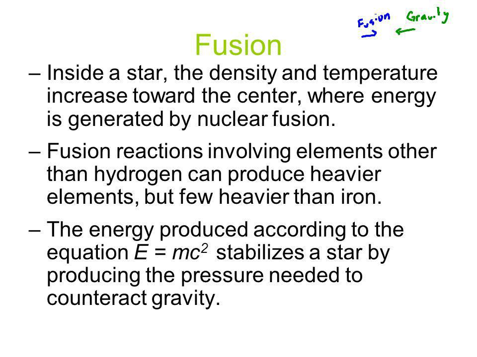 Fusion Inside a star, the density and temperature increase toward the center, where energy is generated by nuclear fusion.