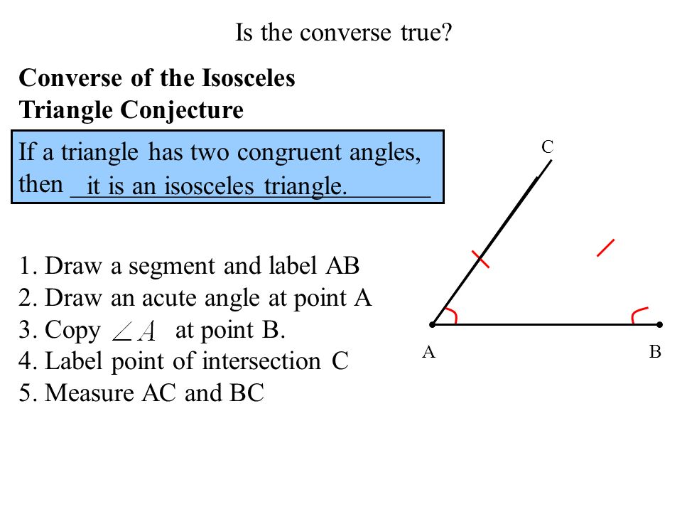 Converse of the Isosceles Triangle Conjecture