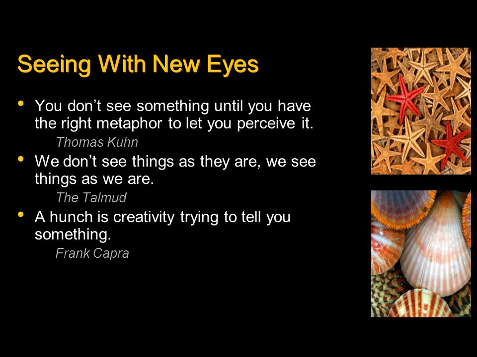 Seeing With New Eyes You don't see something until you have the right metaphor to let you perceive it.