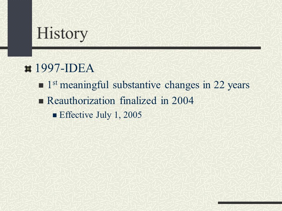 History 1997-IDEA 1st meaningful substantive changes in 22 years