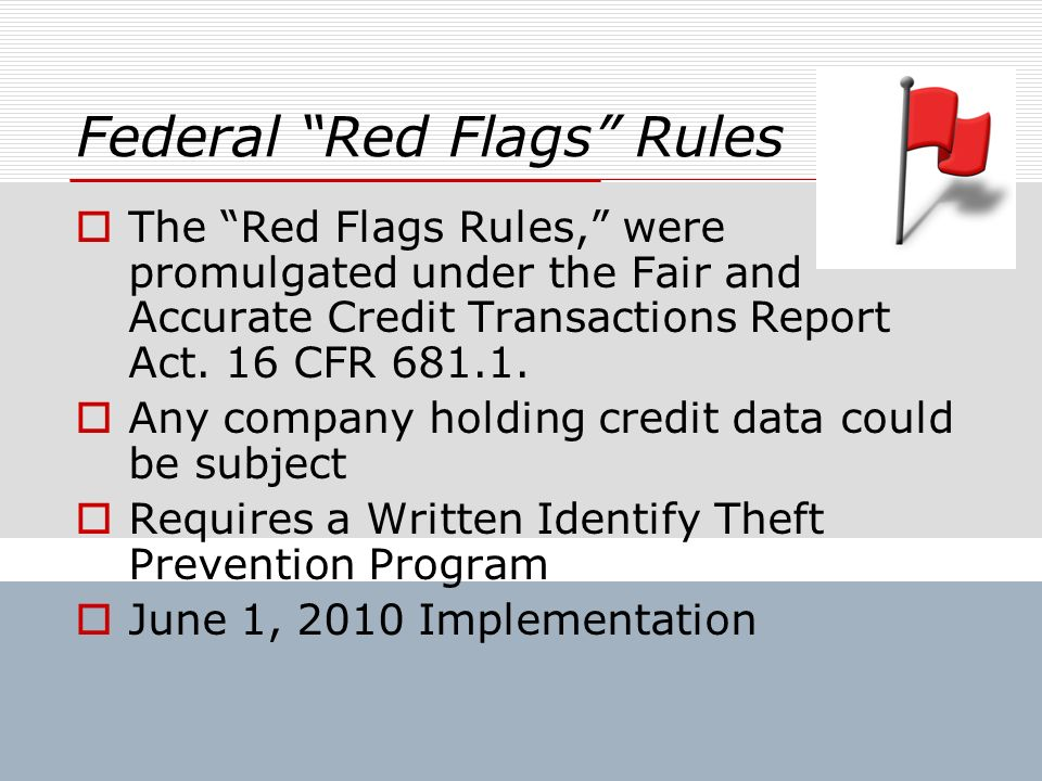 Federal Red Flags Rules