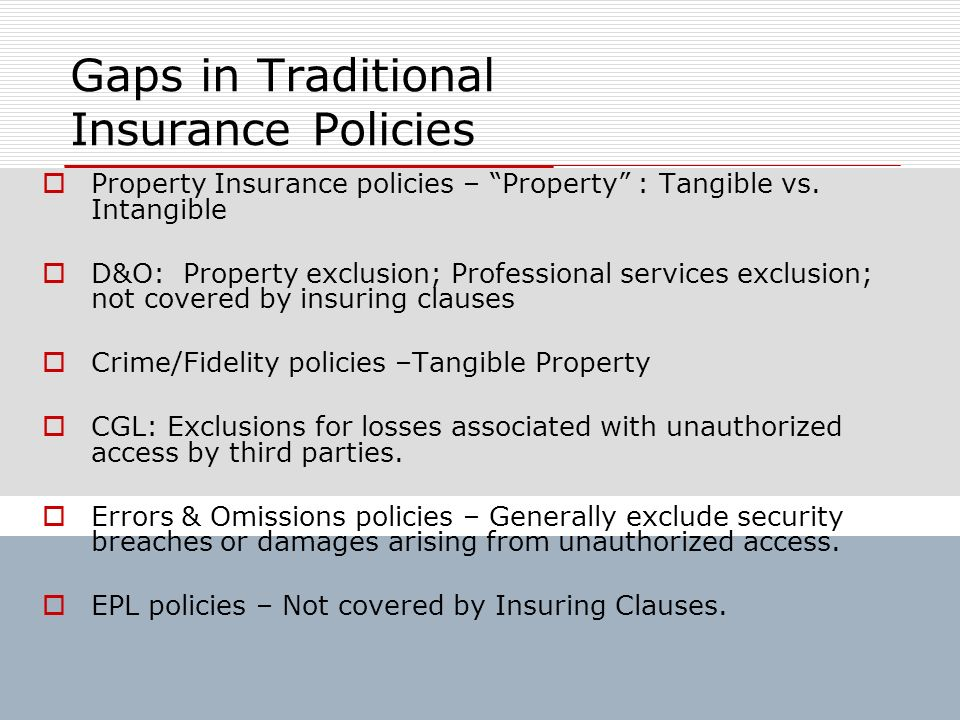 Gaps in Traditional Insurance Policies