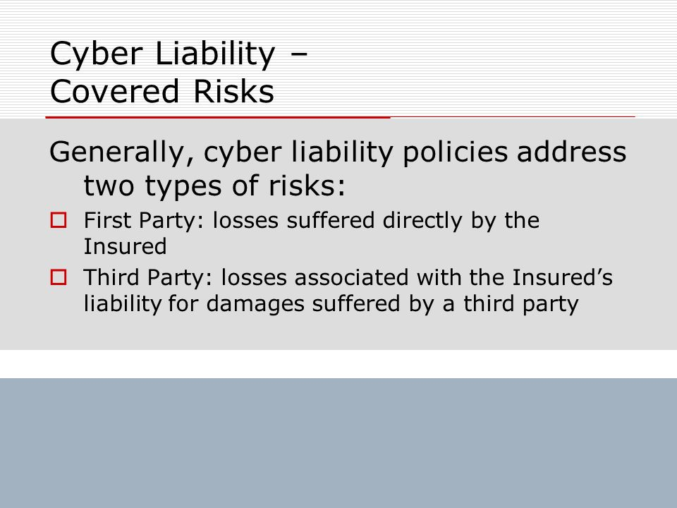 Cyber Liability – Covered Risks