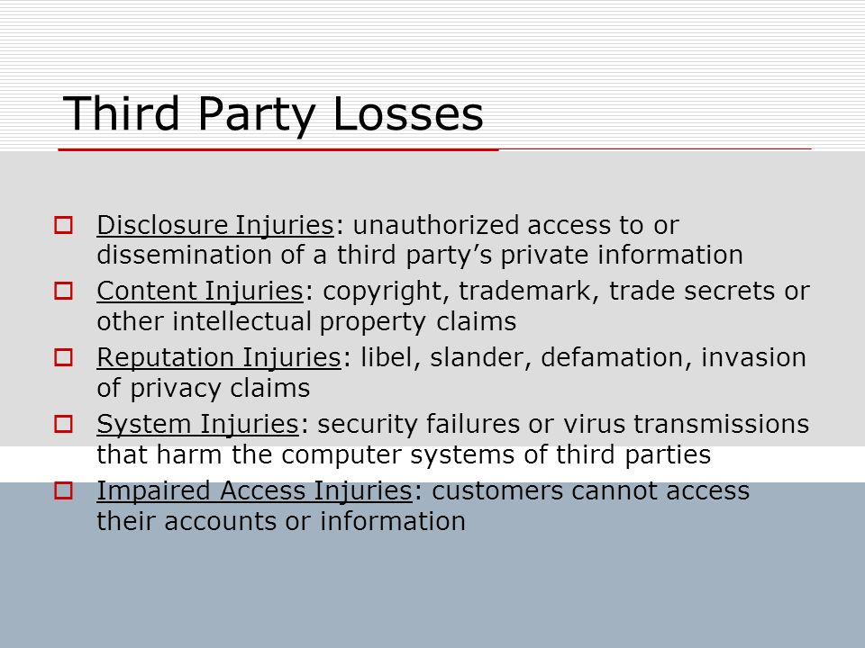 Third Party Losses Disclosure Injuries: unauthorized access to or dissemination of a third party's private information.