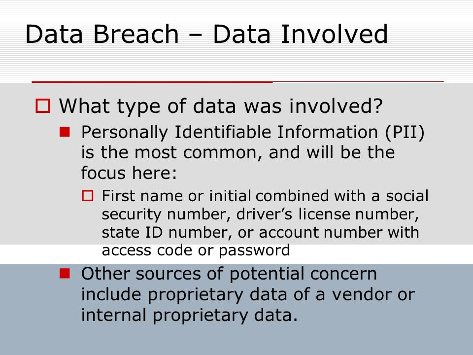 Data Breach – Data Involved