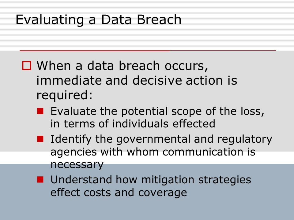Evaluating a Data Breach