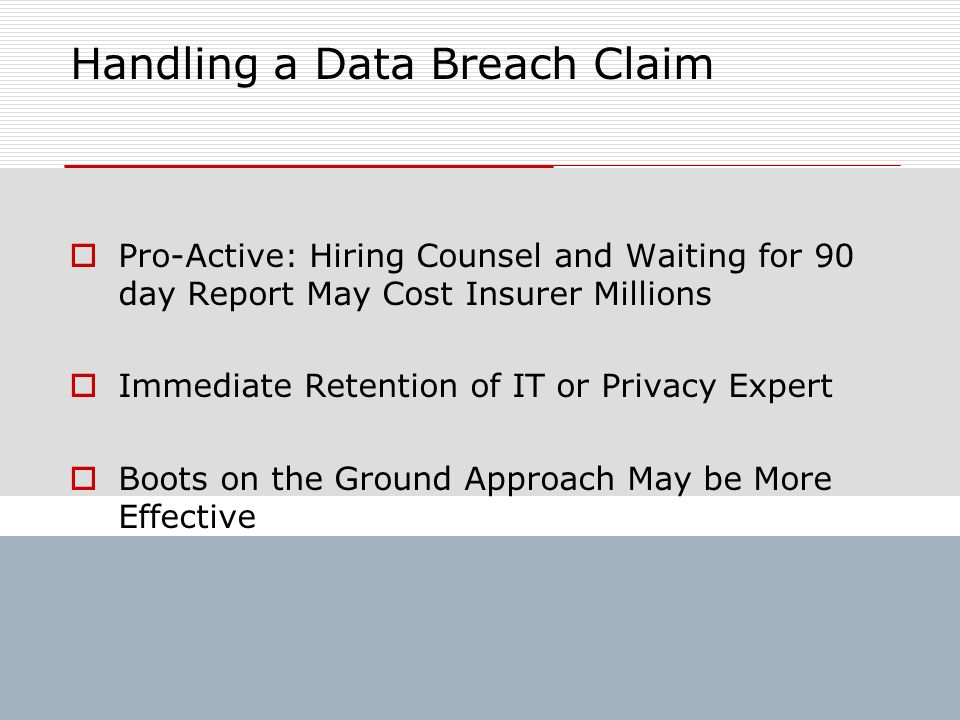 Handling a Data Breach Claim