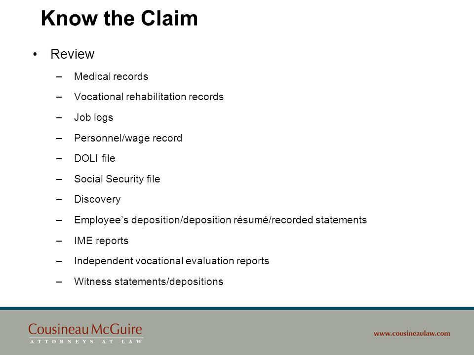 Know the Claim Review Medical records