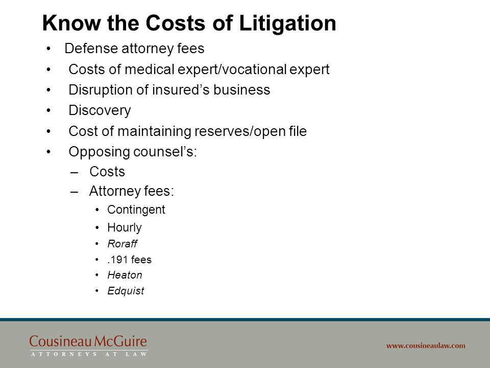 Know the Costs of Litigation