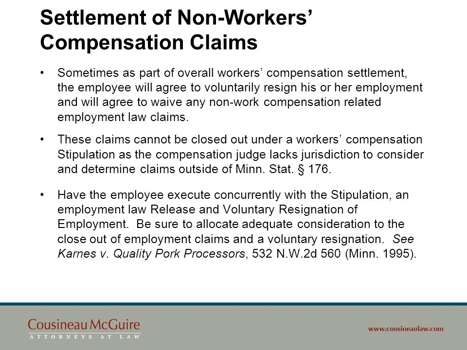 Settlement of Non-Workers' Compensation Claims
