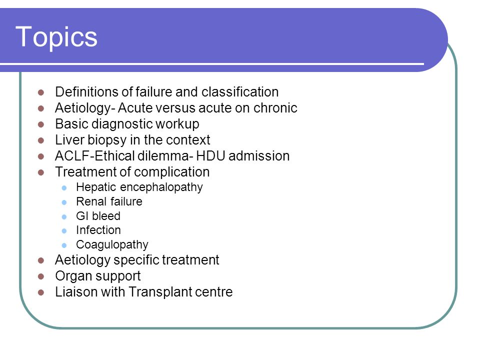 Topics Definitions of failure and classification