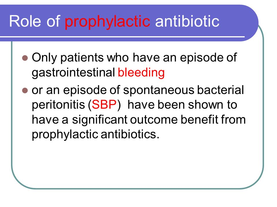 Role of prophylactic antibiotic