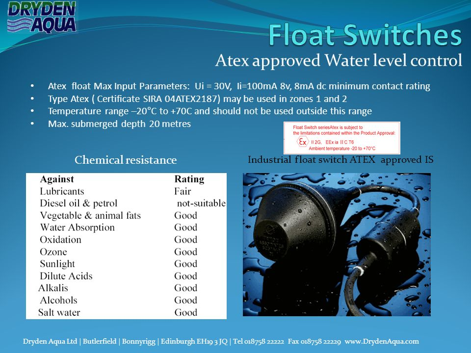 Atex approved Water level control