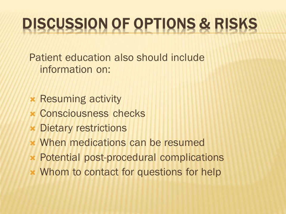 Discussion of Options & Risks