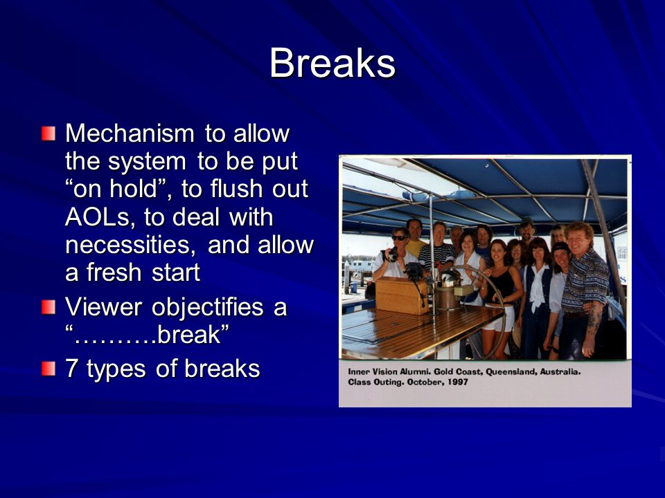 Breaks Mechanism to allow the system to be put on hold , to flush out AOLs, to deal with necessities, and allow a fresh start.