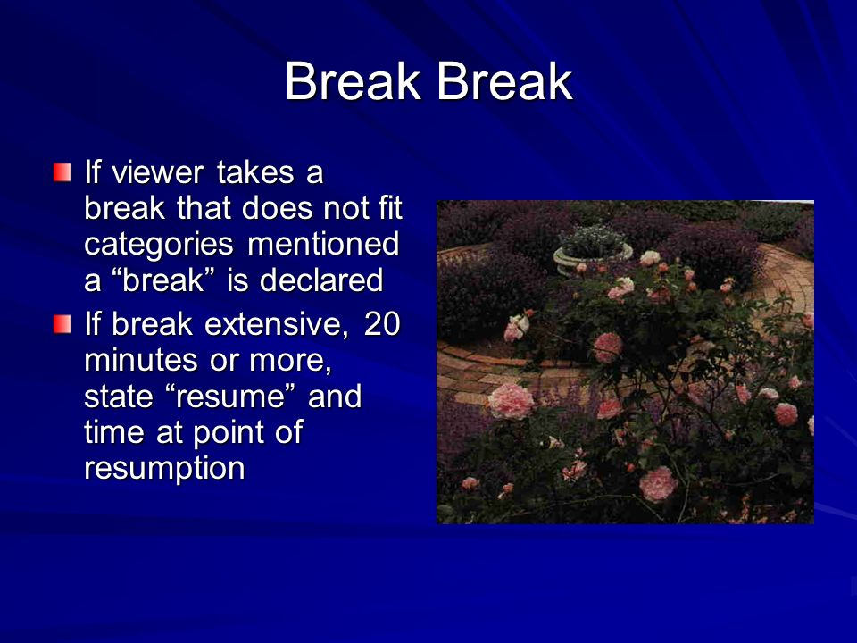 Break Break If viewer takes a break that does not fit categories mentioned a break is declared.