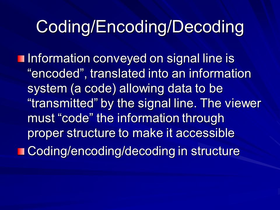 Coding/Encoding/Decoding